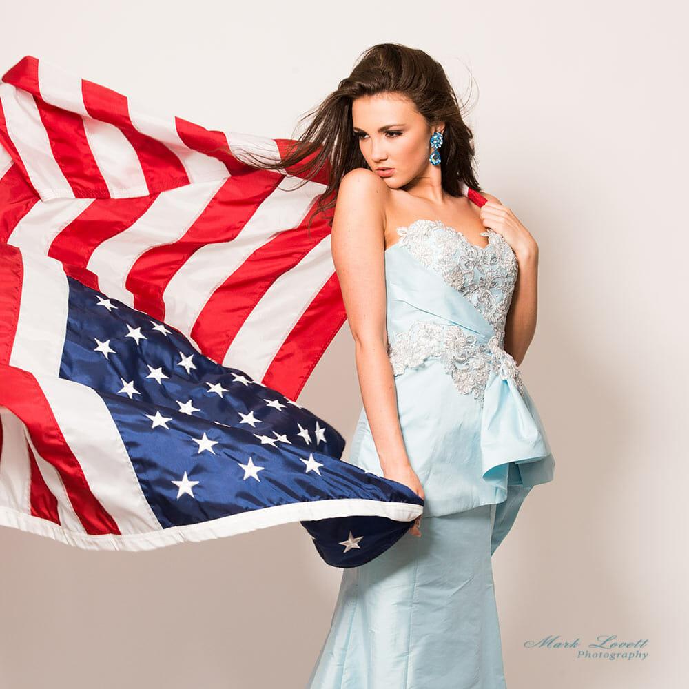 american flag, patriot female headshot, Miss Maryland Photography by marklovettphotography.com Gaithersburg, MD